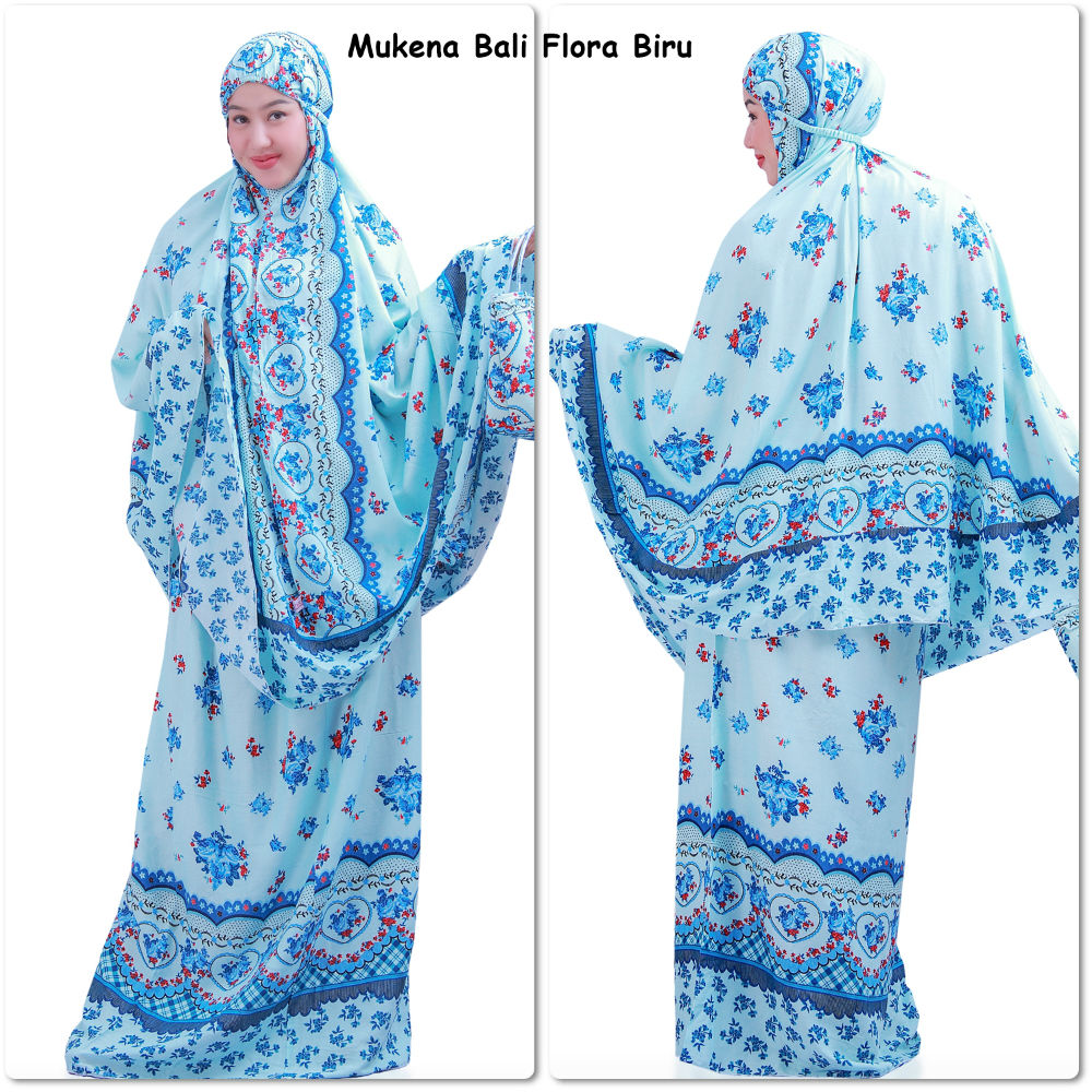 Mukena Bali Flora Biru